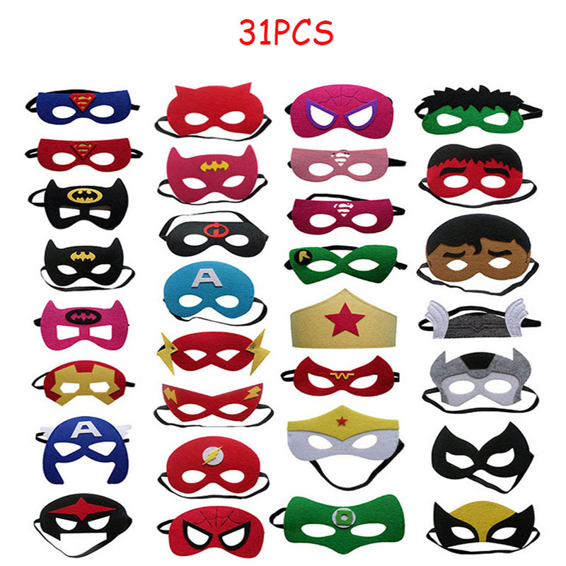 31pcs Super Hero Masks for Kids Halloween Christmas Birthday  Party Dress up Costume Cosplay Mask Kids Children Party Favor GiftBoys  Costume Accessories