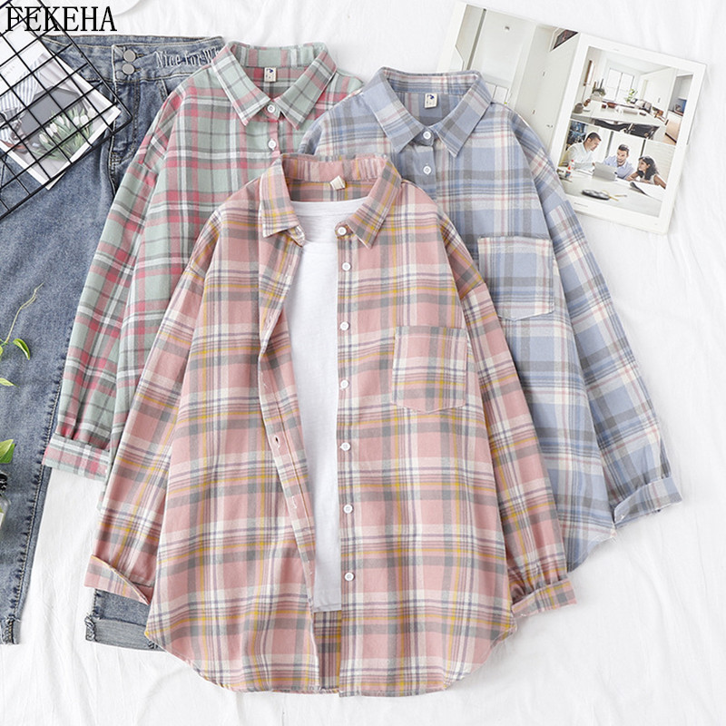 Women   Blouses   And   Shirt   Casual Plaid   Shirts   Loose Boyfriend Style 100% Cotton Ladies Tops Outwear 2019 Oversized