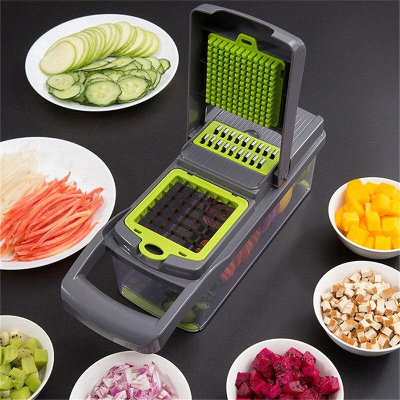 10 개/대 다기능 야채 절단 유물 감자 파쇄 기계 양파 쵸퍼 과일 절단기 주방 도구