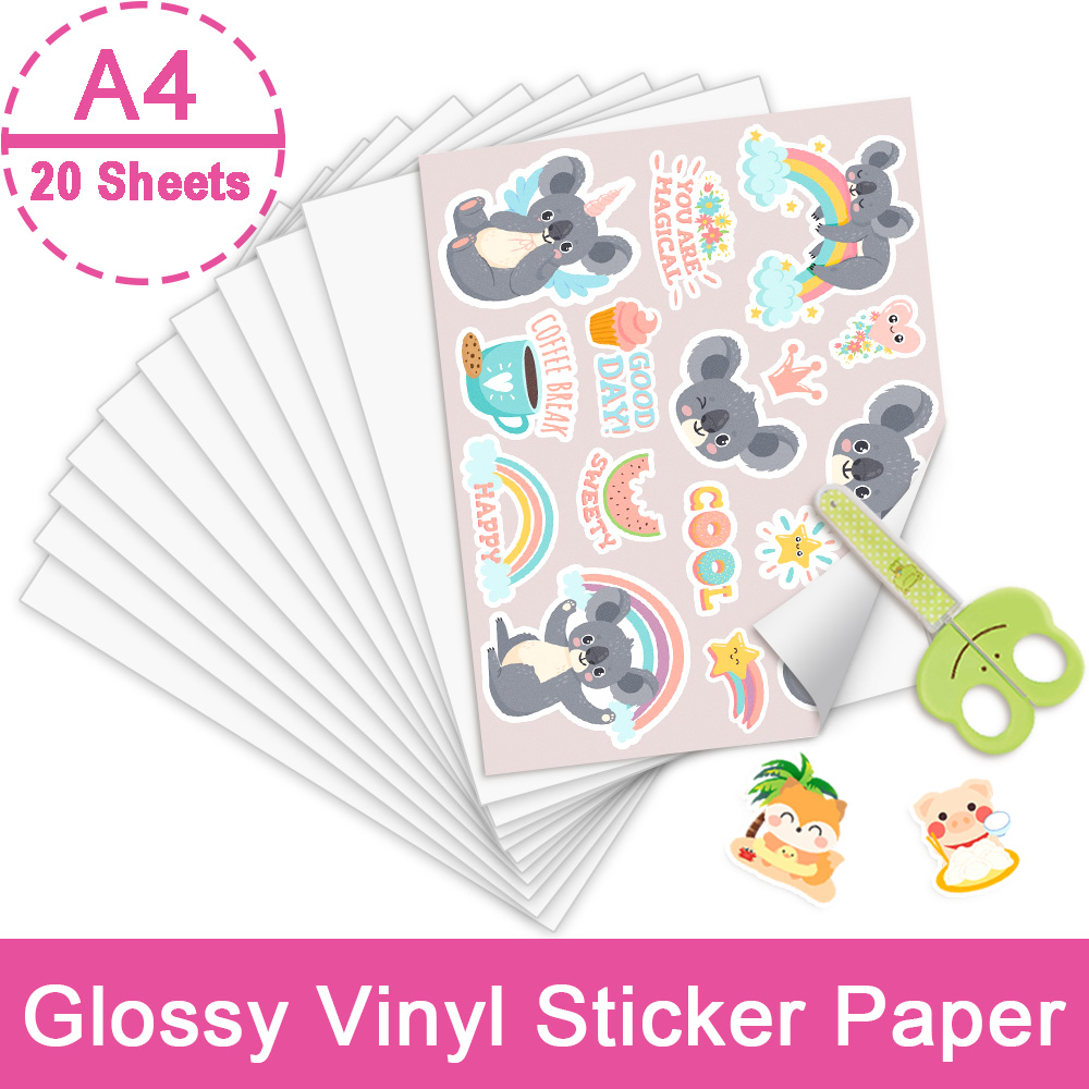 20 Sheets A4 Printable Vinyl Sticker PaperGlossy Adhesive Inkjet Printer Paper for Inkjet Printer DIY Decals Crafts Kids Toys