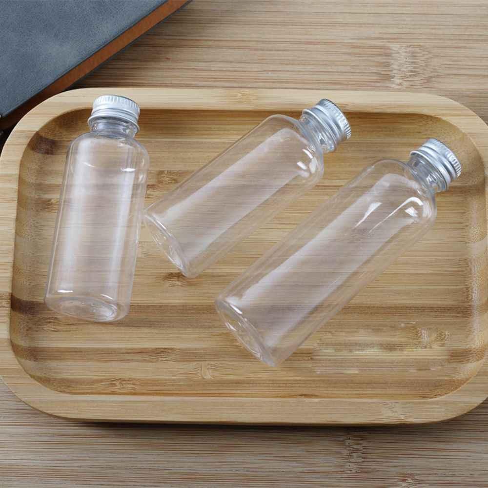 Botella con tapón de aluminio recargable portátil transparente tapa de rosca de plástico normal botella de loción botella de plástico viaje