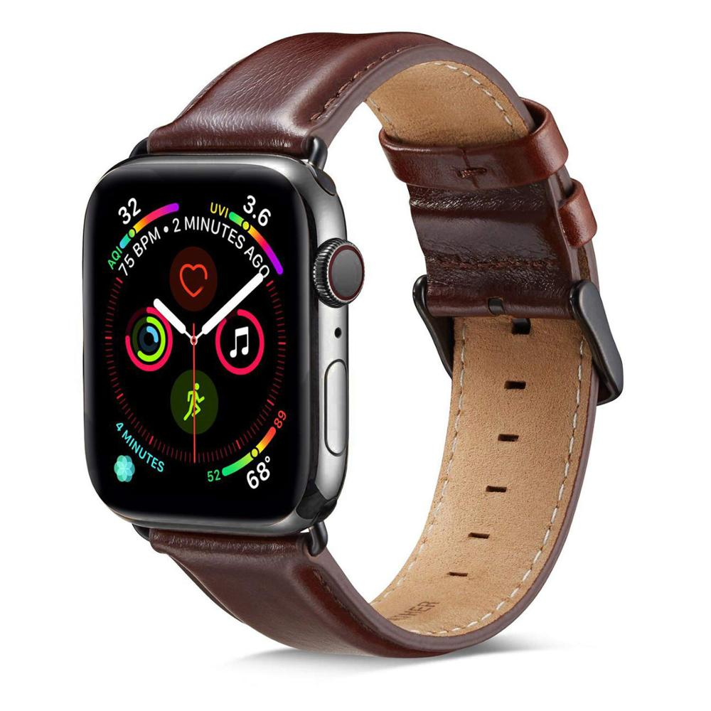 Image 2 - Genuine leather strap for apple watch band 42mm 44mm for apple watch 4/5 38mm 40mm correa replacement bracelet for iwatch 3/2/1Watchbands   -