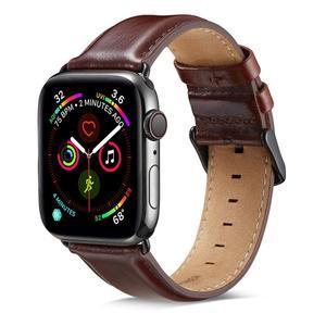 Image 2 - 本革ストラップapple watchバンド42ミリメートル44ミリメートルapple watch 4/5 38ミリメートル40ミリメートルコレア交換ブレスレットためiwatch 3/2/1