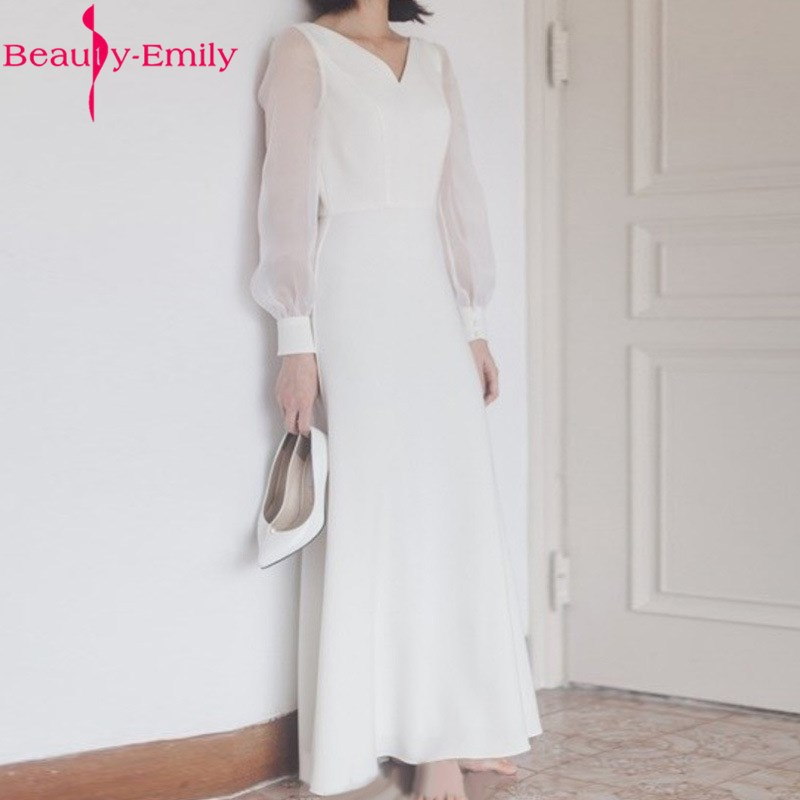 Romantic Simple White Evening Dresses Ankle Length Sexy V Neck  A Line Dress 2020 Long Sleeve Satin Elegant Formal Party Dresses