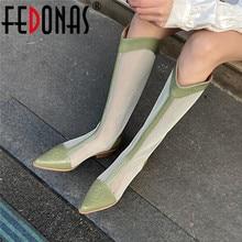 Fedonas Puntschoen Vrouwen Knie Hoge Laarzen Voor Vrouwen Echt Lederen Zomer Laarzen 20211 Fashion Trend Bruiloft Basic Schoenen Vrouw
