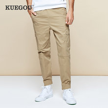 KUEGOU 2019 Autumn Cotton Army Green Cargo Pants Men Casual Streetwear Hip Hop Joggers For Tactical Military Trousers Long 2992(China)