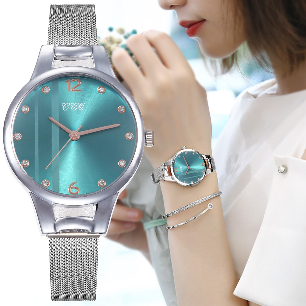 Luxury Women Green Dial Bracelet Quartz Clock Fashion Metal Silver Belt Fashion Creative Dress Watches For Ladies Women Gift W50