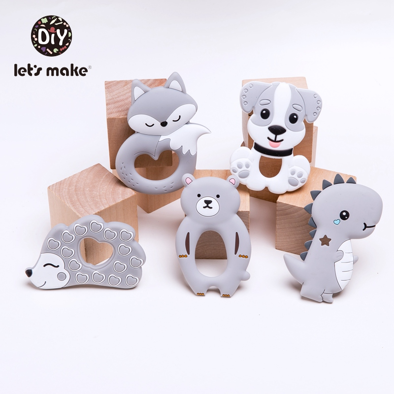 Tiny Rod Baby Teether Set Silicone Rodent BPA Free 5PC Animal Dog Fox Cartoon Ice Cream Teething Toy Silicone Teether Let's Make