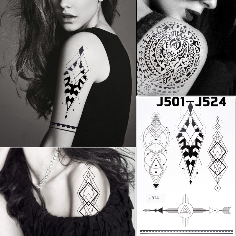 Cross Border Specifically For Foreign Trade New Style Hot Sales Black And White With Pattern Tattoo Sticker Disposable Tattoo Pa