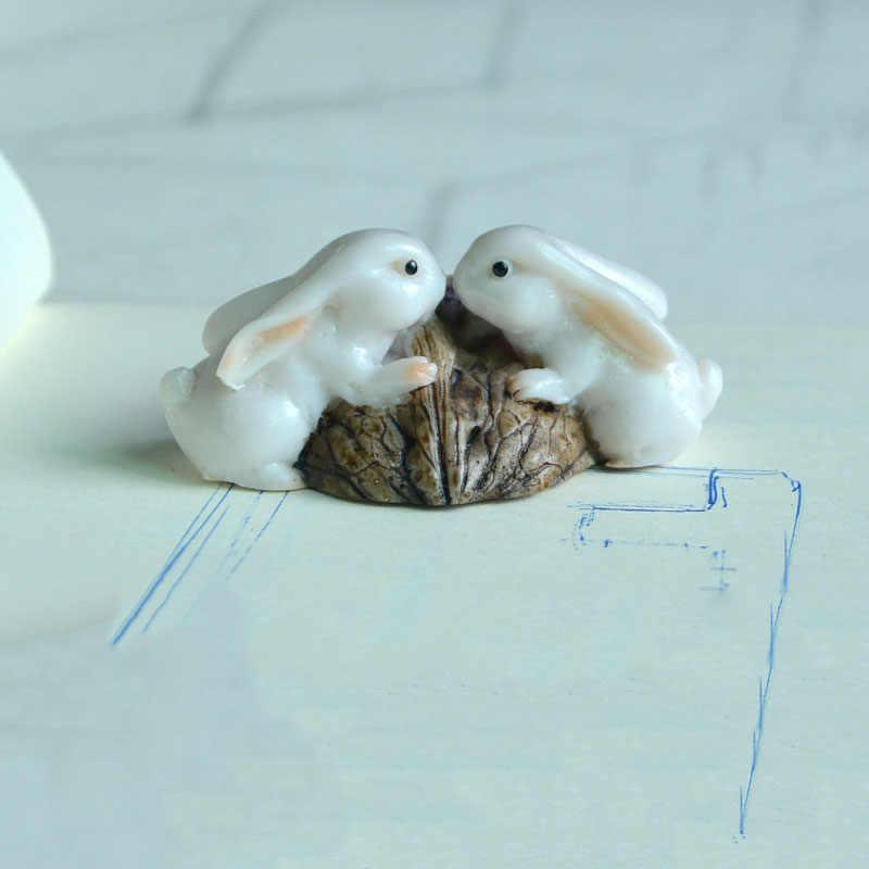Kreatif Lucu Kelinci Hewan Ornamen Resin Patung Miniatur Meja Ornamen Fairy Taman Dekorasi Rumah Aksesoris Modern