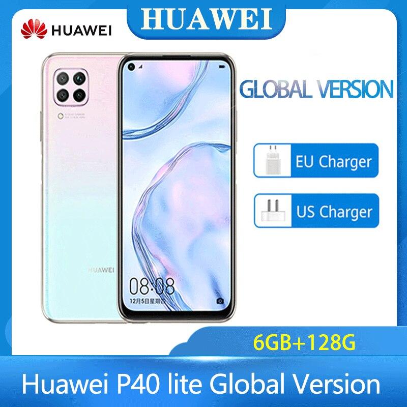 A versão global huawei p40 lite 6gb 128gb smartphone 48mp ai câmeras 6.4 fkirtela de fhd kirin 810 octa núcleo 40w qc telefone android