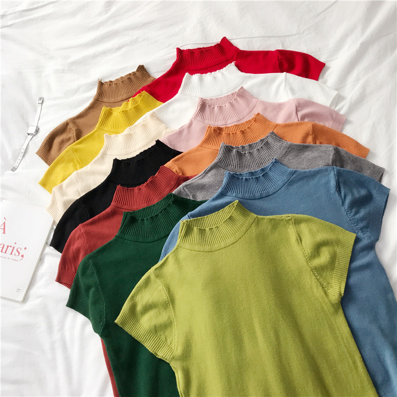 Women Half Turtleneck Short Sleeve Solid Soft Sweater Shirts 2020 Spring Girls Knitting Large Elastic Sweaters Pullovers Tops