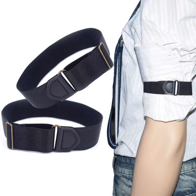 2pcs Mens Groom Shirt Sleeve Holder Metal Non-slip Strap Elastic Stretch Armband