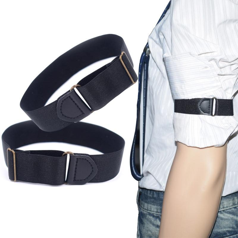 2pcs Mens Groom Shirt Sleeve Holder Metal Non-slip Strap Elastic Stretch Armband