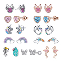 Bisaer Colorful Rainbow Heart Stud Earrings 925 Sterling Silver Cute Mickey CZ Crystal Stone Stud For Women Girl Fine Jewelry