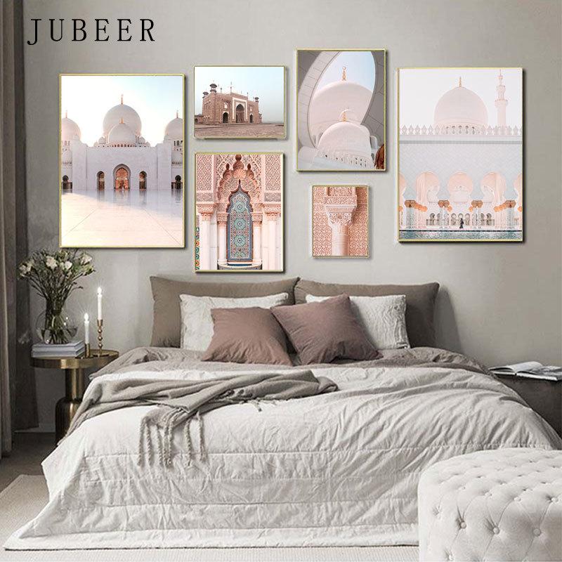 Islamic Wall Art Muslim Architecture Canvas Painting Pictures For Home Design Posters And Prints Living Room Decoration Home Leather Bag