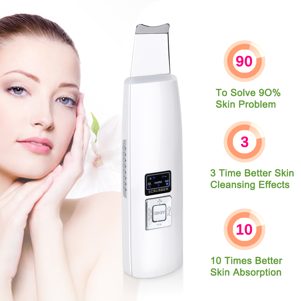 Ultrasonic Skin Scrubber Cleanser Face Cleansing Acne Removal Facial Massager Ultrasound Peeling Clean Tone Lift