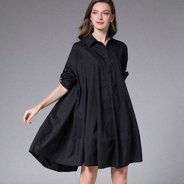 DEAT 2021 New Fashion Casual Oversized  Women's Shirt Dress Loose Wild Button Lapel Collar Full Sleeve Slim Clothes AQ744 3