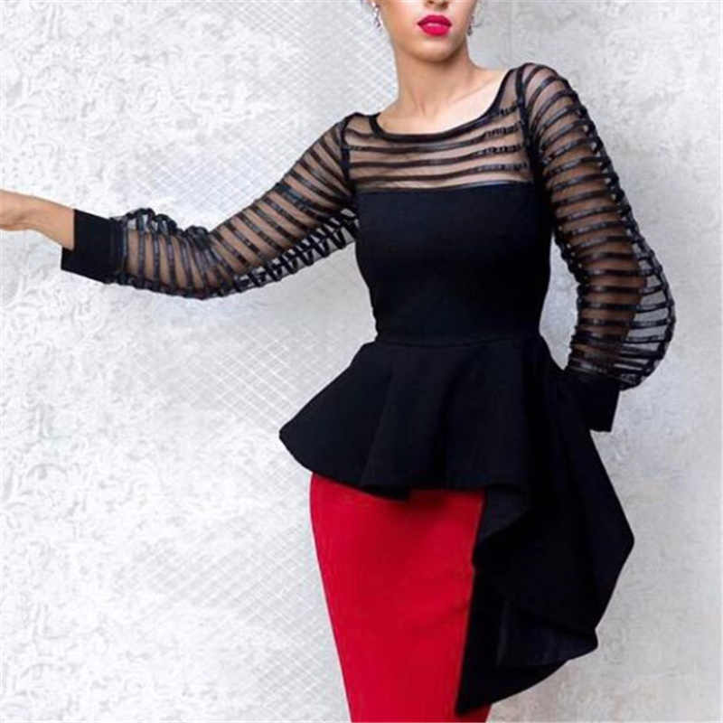 Vrouwen Blouse Patchwork Tops Shirt See Through Dunne Tule Lange Mouwen Peplum Slim Zomer Mode Elegante Dame Bluas Drop Shipping