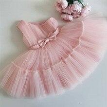 Платье для маленьких девочек платье на день рождения для От 1 до 2 лет новорожденных у баптистов розовая одежда для малышей, комплект из одно...