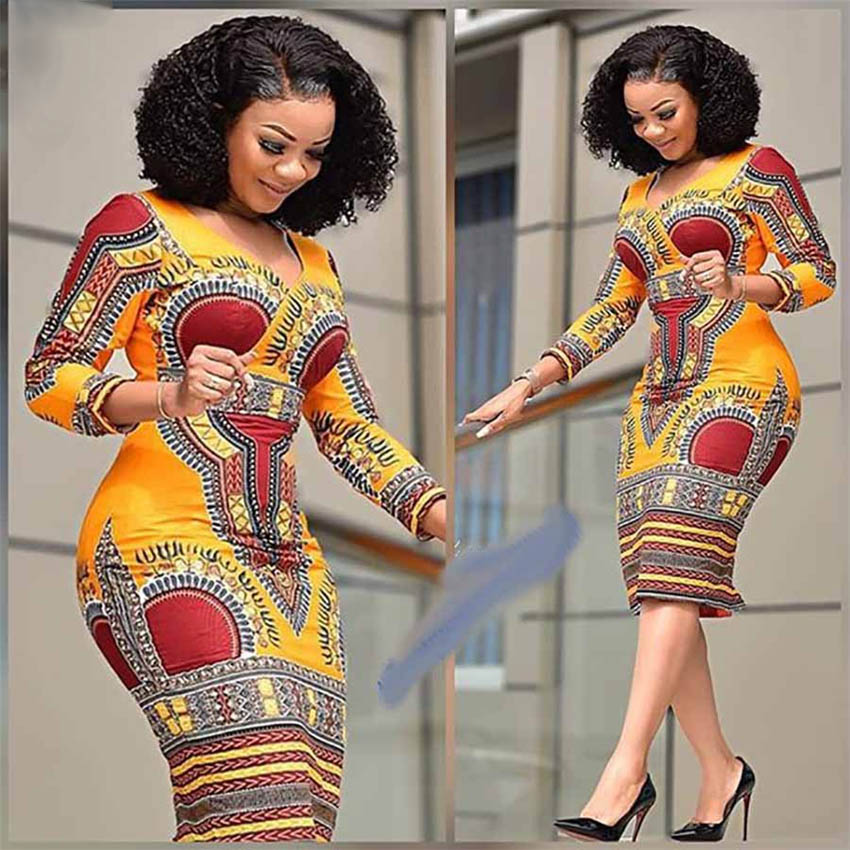 African Dresses For Women Dashiki Print 2020 News Tribal Ethnic Fashion V-neck Ladies Clothes Casual Sexy Dress Robe Party