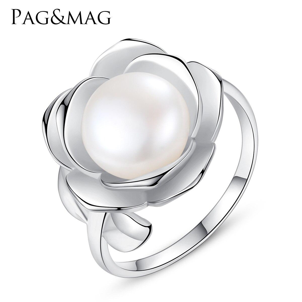 PAG-MAG ouvert élégant bague en argent femmes édition coréenne mode en forme de fleur collante naturelle perles d'eau douce