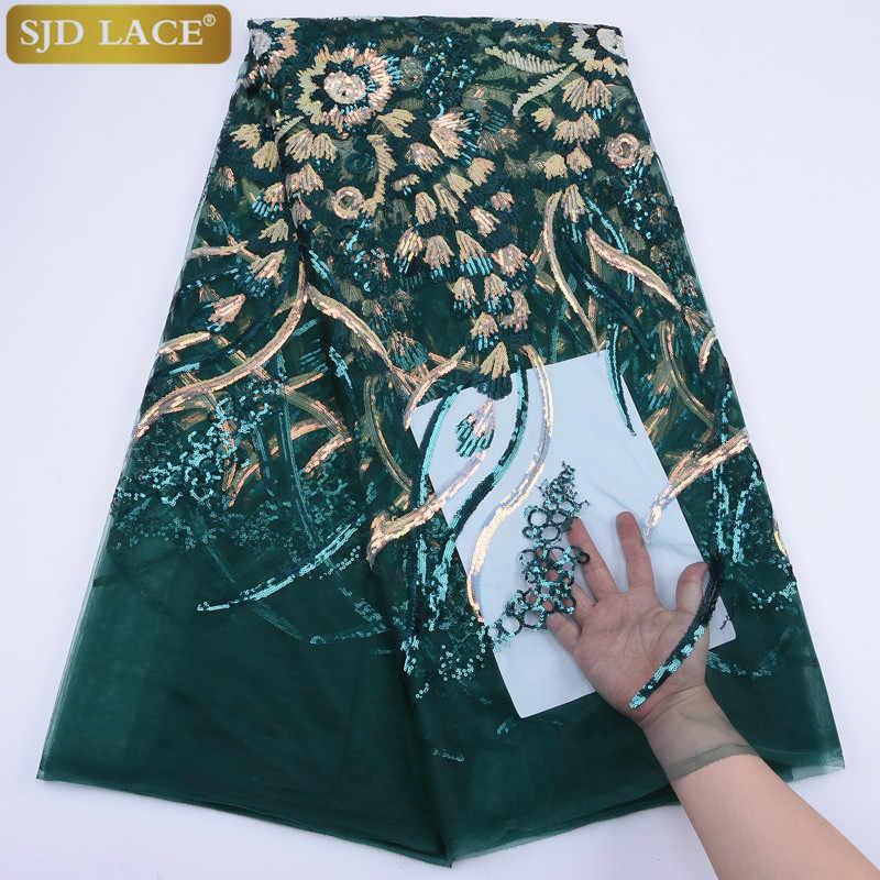 זהב אפריקאי Frebcg תחרה בד רקמת רשת טול תחרה אופנה פאייטים צרפתית נטו תחרה בד עבור שמלה לנשף A1761