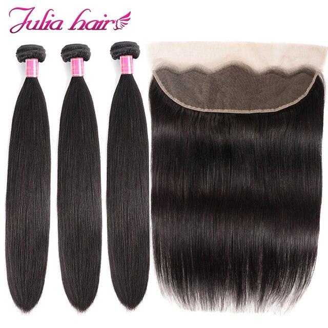 פרואני ישר שיער טבעי 3 חבילות עם פרונטאלית מראש קטף ג וליה רמי שיער 13*4 אוזן לאוזן תחרה פרונטאלית עם שיער חבילות