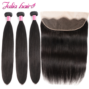 Image 1 - Peruvian Straight Human Hair 3 Bundles With Frontal Pre Plucked Julia Remy Hair 13*4 Ear to Ear Lace Frontal with Hair Bundles