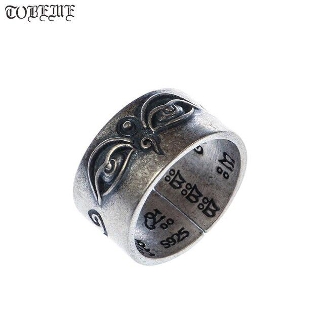 اليدوية 925 الفضة التبتية الحكمة عيون حلقة البوذية السماء عيون حلقة بوذا عيون حلقة مقاوم
