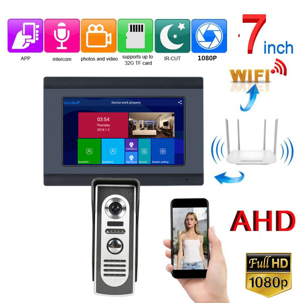7 Inch Wired Wifi Video Door Phone Doorbell Intercom Entry System With HD 1080P Wired Camera Night Vision,Support Remote APP Int