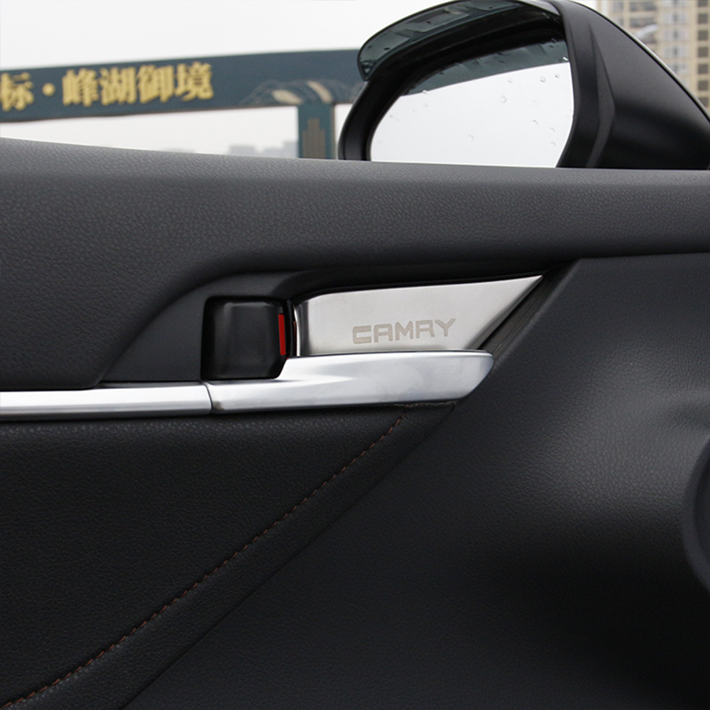 Car Interior Door Handle Cover Bowl Trim For Toyota Camry 70 XV70 8th MK8 2018 2019 Chrome Parts Car Styling Auto Accessories