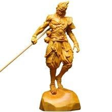 Sun wukong-estatua del rey mono, juego de kung-fu para decoração do hogar, figurias de madera maciza, artesanías de tal