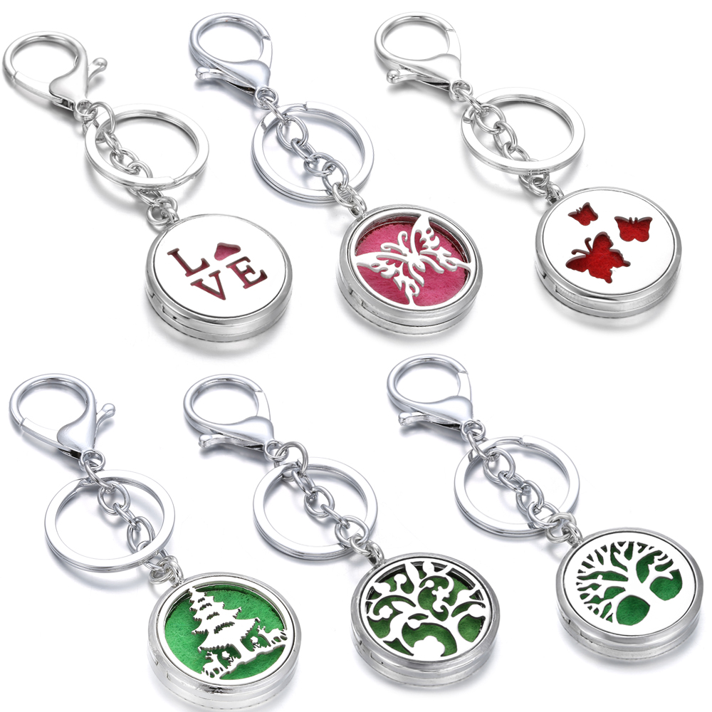 Aromatherapy Perfume Locket Keychain Butterfly Cats Elephant Elk Essential Oil Diffuser Scent Key Chain Keyring Christmas Gift