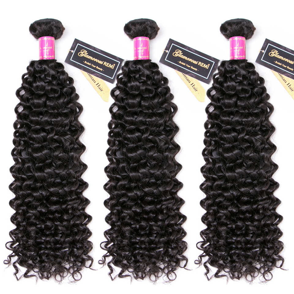 Indian Jerry Curl Human Hair Extension for Women 3 peice 100% Remy Curly Hair Weave Bundles  Natural Black Color Promotion