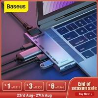 Baseus Dual Type C USB 3.0 HUB per Macbook Pro 3 USB C HUB a 4K HD TF SD Card Reader RJ45 PD Adapter 3 USB C Docking Station