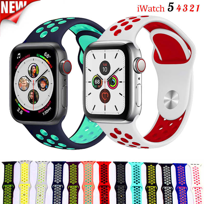Sport Strap For Apple Watch band correa iwatch band 42mm 44mm 38mm 40mm Silicone bracelet watchband accessorie apple watch 5 4 3