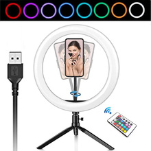 26CM Photography LED Selfie Ring Light Dimmable Camera Phone Ring Lamp 10inch With Table Tripod Makeup Video Live Studio photography led selfie ring light 26cm dimmable camera phone ring lamp with tripod bluetooth remote for makeup video live studio