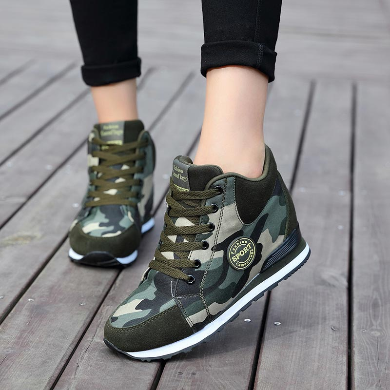 Solid Women Shoes Women Sneakers 2019 New Fashion Breathable Canvas Women Casual Shoes Lace-up Height Increasing Shoes Woman