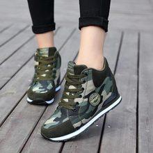 Solidne damskie buty damskie trampki 2019 nowe mody oddychające płótno damskie obuwie sznurowane wysokość zwiększenie buty kobieta