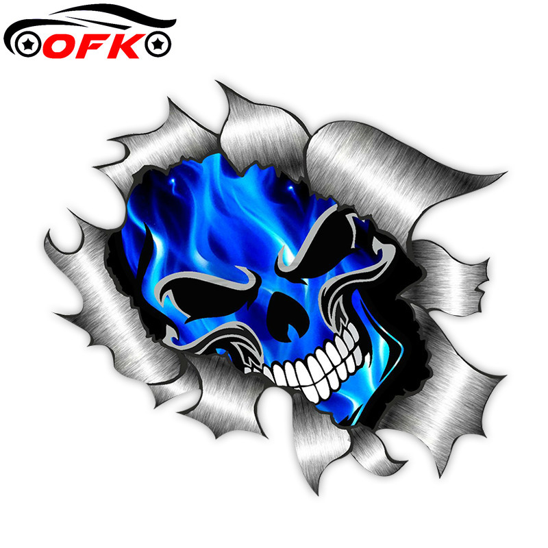 Car Stickers Decor Motorcycle Decals Skull & Electric Blue Flames  Decorative Accessories Creative Waterproof PVC,13cm*13cm