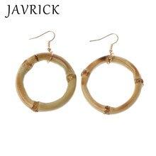 Handmade Natural Bamboo Wood Round Circle Dangle Hoop Earrings Fashion Jewelry