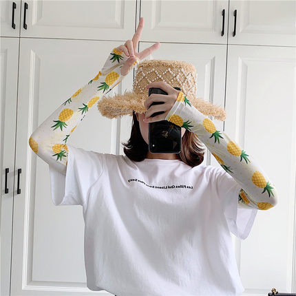 2 Pieces =1 Pairs Cute Printed Sun-resistant Women's Summer Sleeve Ice Outdoor Sunshade Cuff Arm Warmers Female
