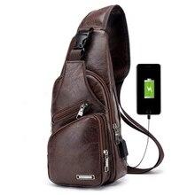 Nuevo bolso de pecho para hombre con puerto de carga USB bolso bandolera Retro de cuero Pu Vintage bolsa de negocios para deporte marrón oscuro