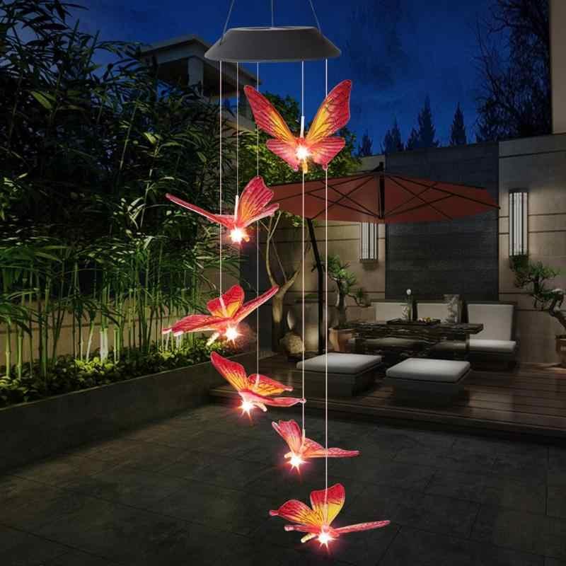 6LED Tenaga Surya Berubah Lampu IP65 Tahan Air Warna-warni Kupu-kupu Lonceng Angin Lampu untuk Rumah Outdoor Taman Yard Dekorasi
