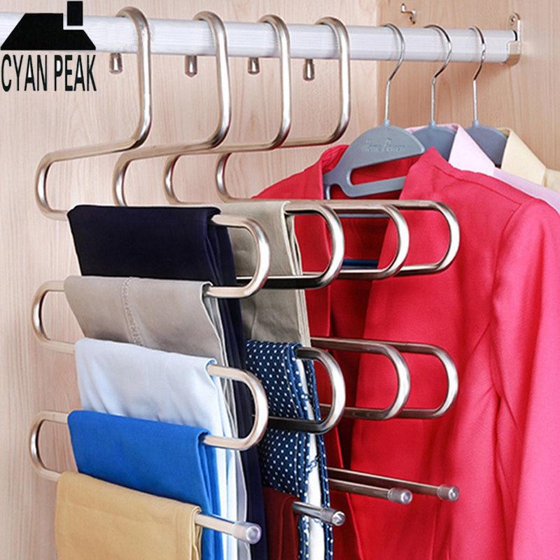 5 Layers MultiFunctional Clothes Hangers Pant Storage Cloth Rack Trousers Hanging Shelf Non-slip Clothing Organizer Storage Rack