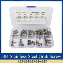 цена на 200Pcs/set Stainless Steel Wood Screws Allen Head Socket Hex Set Grub Screw Assortment Cup Point parafuso Assortment