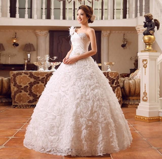 Hot Sales Spring & Summer Style vestidos de noiva One Shoulder Designer Wedding Dresses With Sleeves Women Princess Dress