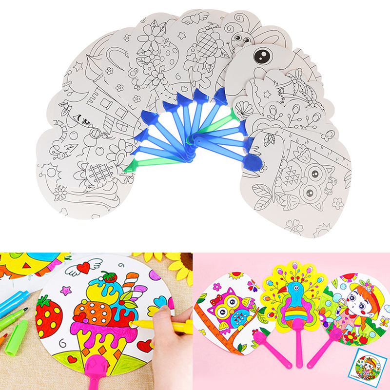 DIY Coloring Hand Fan Kids Cartoon Hand Fan Paper Art Craft Material For Kindergarten Preschool Drawing Toy Kids Gifts