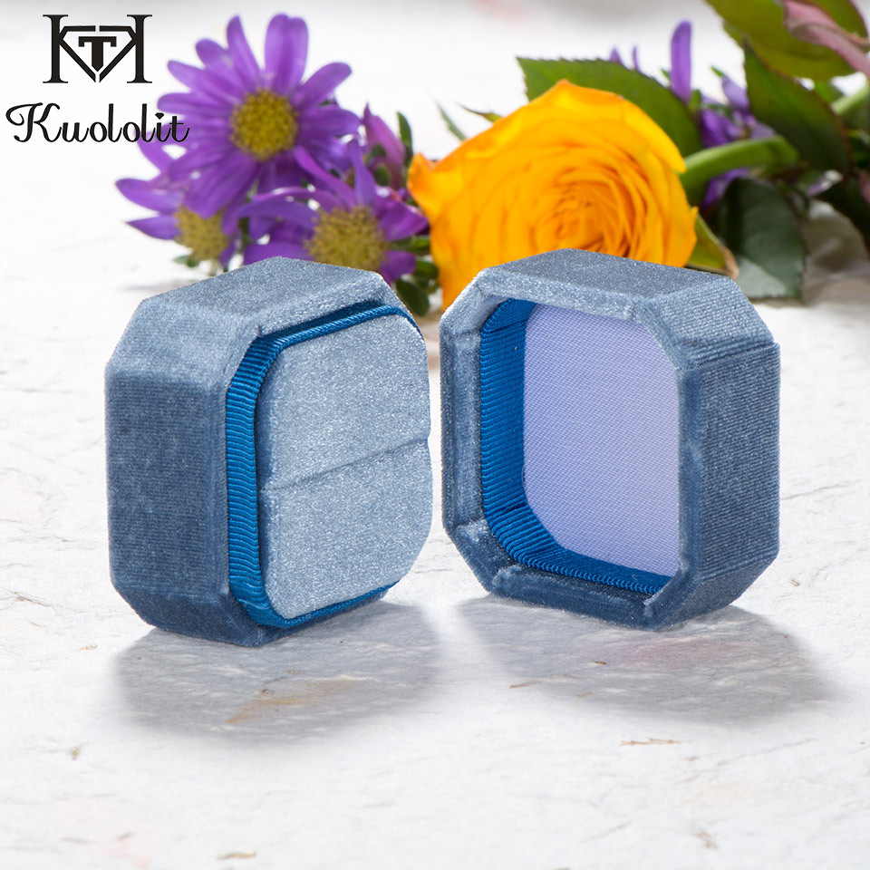 Kuololit Engagement Handmade Velvet Box Wedding Personal Ring Earrings Box For Women Pink Blue Jewelry Display Packing Wholesale